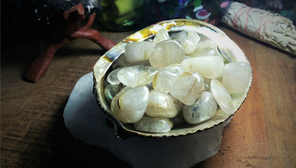 Tumbled Rutilated Quartz for easing depression and claivoyance