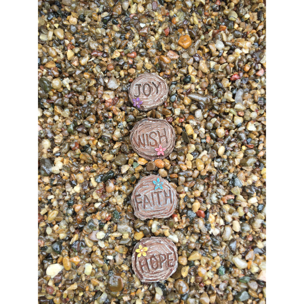Fairy Garden / Miniature Accessories - Set of 4 Mini Word Stepping Stones - FB1617