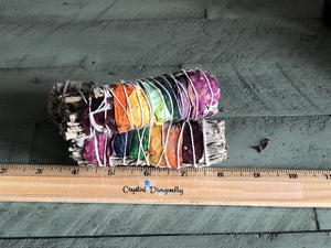 White Sage and Chakra Rose Petal Smudge Stick: FB2521