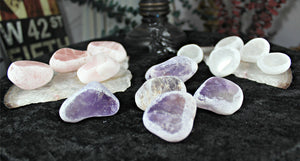 Rose Quartz, Clear Quartz & Amethyst Seer Stones, Ema Eggs, Window Quartz