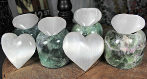 "Selenite Hearts - with Great Sheen from Morocco - 1"" to 3"" across; FB1780"
