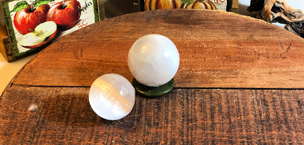Selenite Spheres from Morocco, beautiful and crisp energy; FB1869