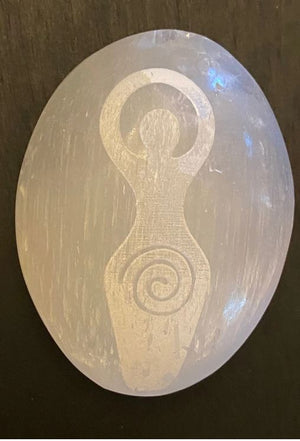Etched Selenite Palm Stones, Reiki symbols, Owl, Dragon, Dragonfly, FB2597