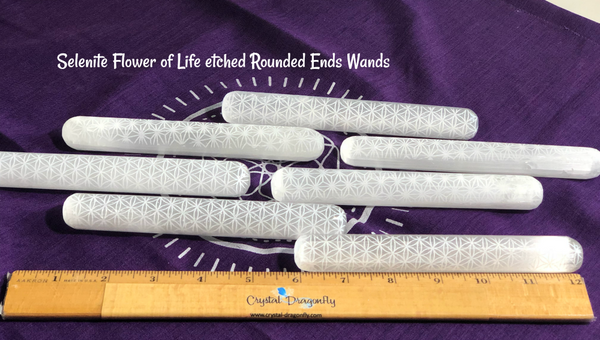 Selenite Rounded or Terminated Point Wands with Flower of Life etching; FB1496