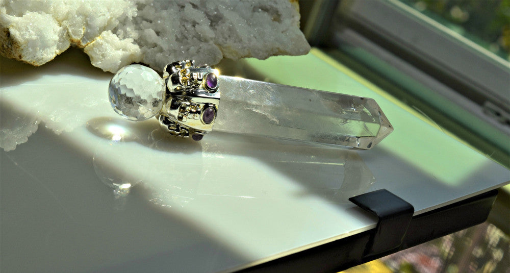 Clear Quartz Skull Wand with Amethyst Cabochons; FB1126