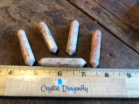 Double Terminated Sunstone Wands, for Reiki, Energy Healing & Crystal Grids; FB2067