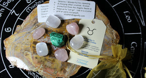 "Zodiac ""Taurus"" Crystal Astrology Grid - Malachite, Rose Quartz & Selenite"