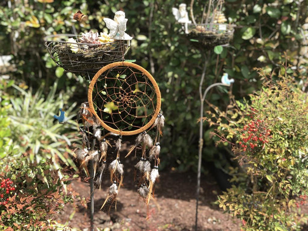 Tiger Eye Spiral Web and Feather Dream Catcher; FB2575