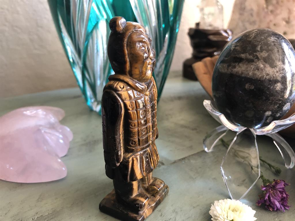 Tiger Eye Warrior Carving with Velvet Drawstring Pouch; FB2535