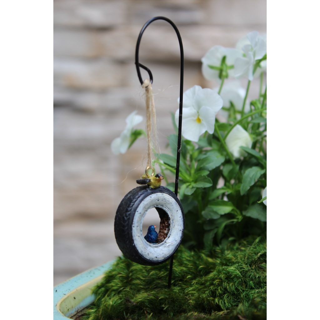 Fairy Garden / Miniature Accessories - Mini Hanging Tire with Shepherd's Hook - FB1643