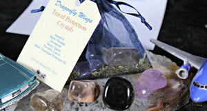 Travel Protection Pouch, Crystals & Black Tourmaline Oil infused Feverfew