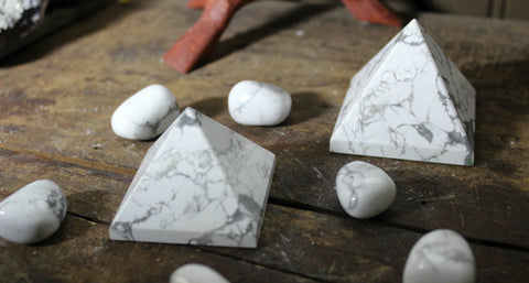 White Howlite Pyramids for awareness and to release pain and anger; FB1090
