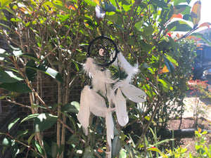Yin Yang White Feather Dream Catcher, small; FB2548