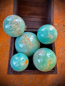 Amazonite Sphere from Madagascar for money, luck, love, and calm; FB1438