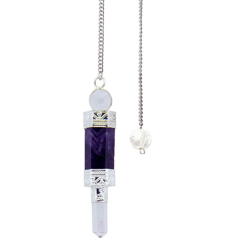 Amethyst with Crystal Point & Sphere Mini Wand Pendulum; FB2604