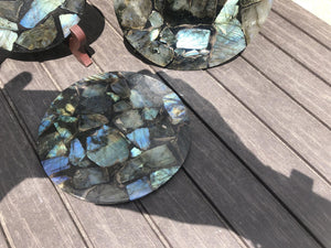 Resin Ammonite or Labradorite Slices Round Display / Plate / Base; FB2690