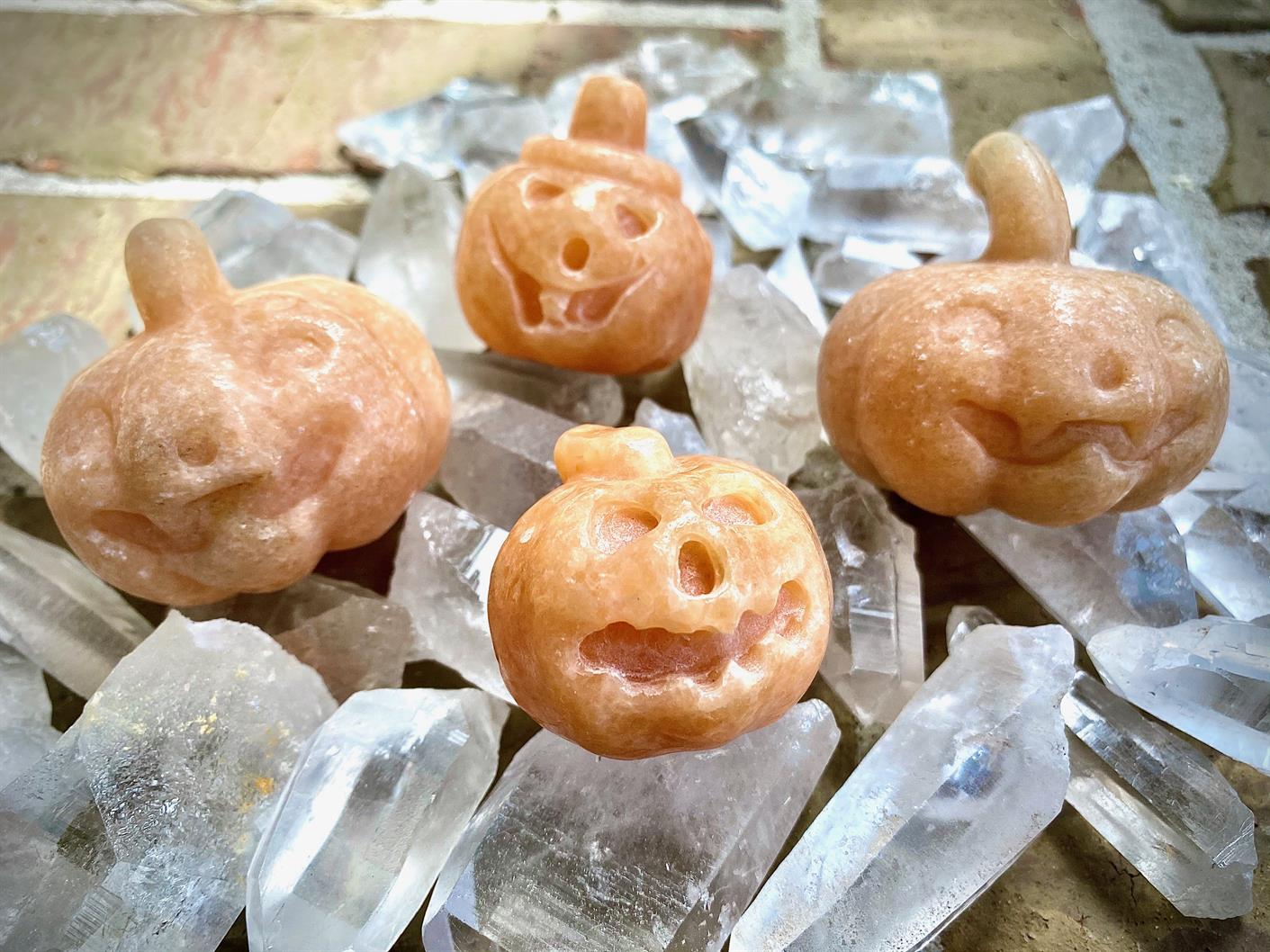 Jack O' Lantern Sunstone or Yellow Aventurine Carved Pumpkin FB2703