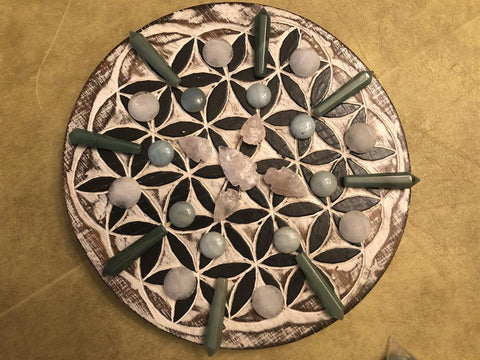 Wood Flower of LIfe or Tree of Life Plaque / Crystal Grid Base from Bali; FB2543