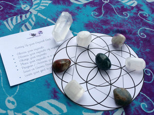 Beyond The Basic Crystal Grid, 7 crystals, Using a Wand / Point + Pouch + Instruction Pamphlet