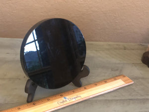 Black Obsidian Glossy Scrying Mirror with Wood Stand, grounding, protection; FB2654