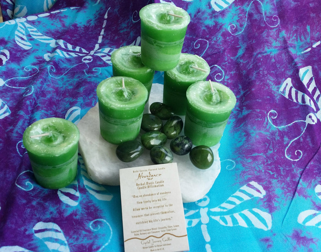Reiki Charged, Hand-Poured Candle for Abundance + Affirmation
