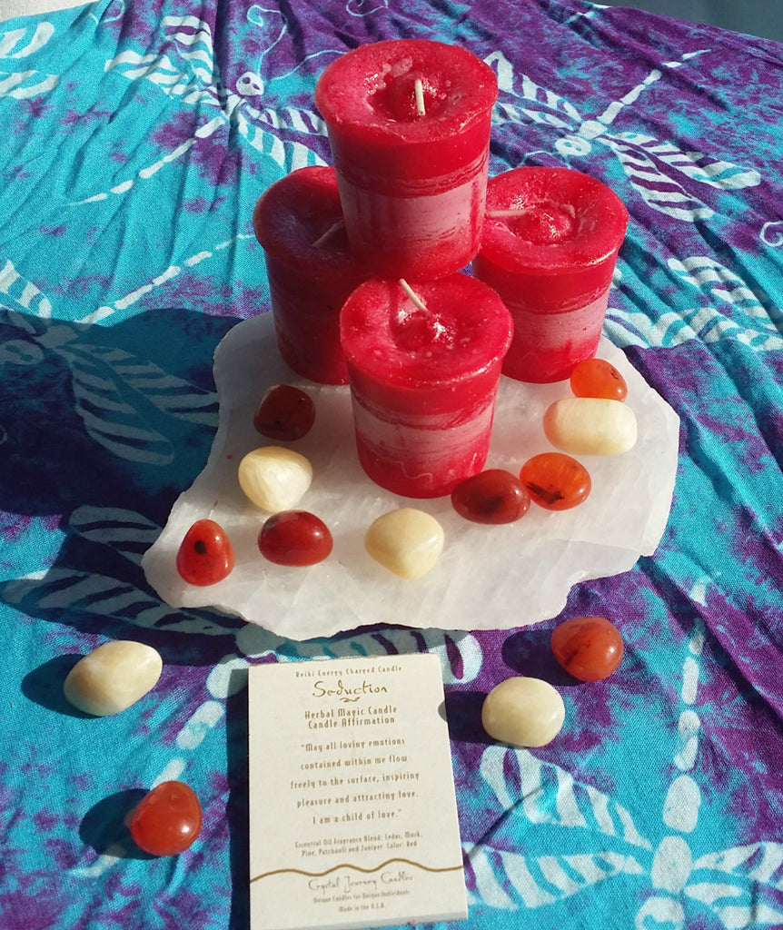Reiki Charged, Hand-Poured Candle for Seduction + Affirmation