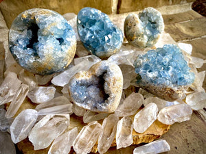 Celestite Clusters from Madagascar - Angelic Realm Crystal FB1306