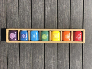 CHAKRA Color & Symbols Ceramic Chime / Altar Candle Holders; FB2547