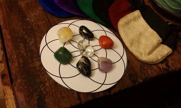 Chakra Set, Tumbled Stone Set with Pouch, Info Card, Gift Tag & Card-stock layout
