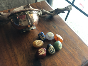 Tumbled Chakra Stones with Engraved Symbols and Pouch; FB1966