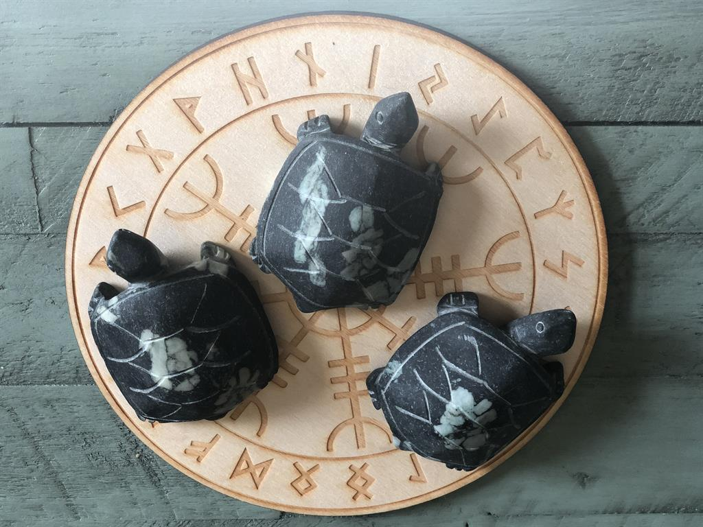Turtle Carving - Spirit Turtle carved from Chrysanthemum Stone FB2696