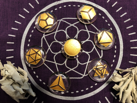 Sacred Geometry Collection - Platonic Solids - Clear Quartz Pocket Stones; FB2048