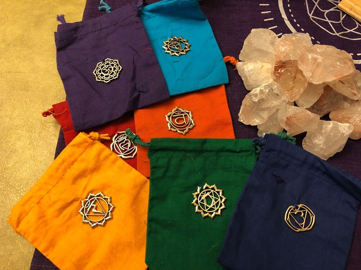 Chakra Colors Cotton Pouches with Metal Symbols, set of 7; FB1974