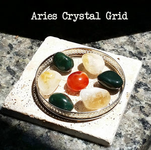 "Zodiac ""Aries"" Crystal Astrology Grid - Citrine, Carnelian, & Bloodstone"