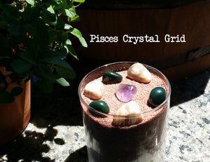 "Zodiac ""Pisces"" Crystal Astrology Grid - Amethyst, Moonstone, & Bloodstone"