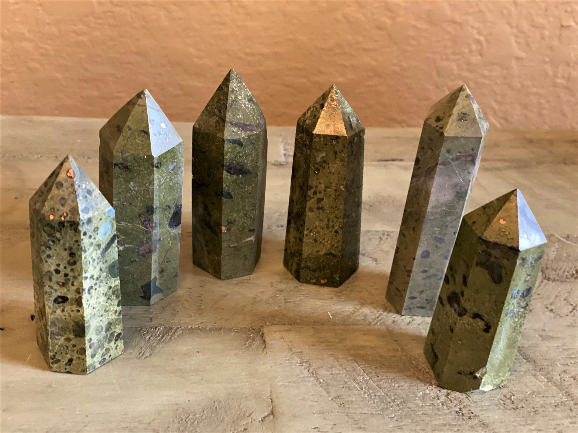 Dragon Blood with Pyrite Generator Polished Standing Point (Tower); FB2803