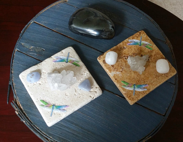 Positive Happy Energy - Double Dragonfly Tile & Crystals Set