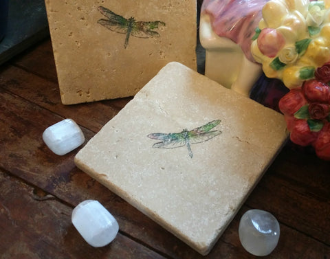 Dragonfly Crystal Grid Tile - A lovely tile - Can be displayed as is or used to display your Crystal Grids