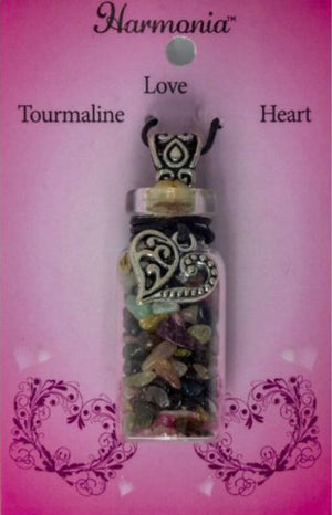 Gemstone Chip Glass Bottle Pendants with charms & leather cord, FB2523