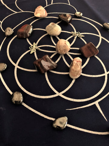 Grounding Goddess Crystal Grid with Goddess Cloth; FB2233