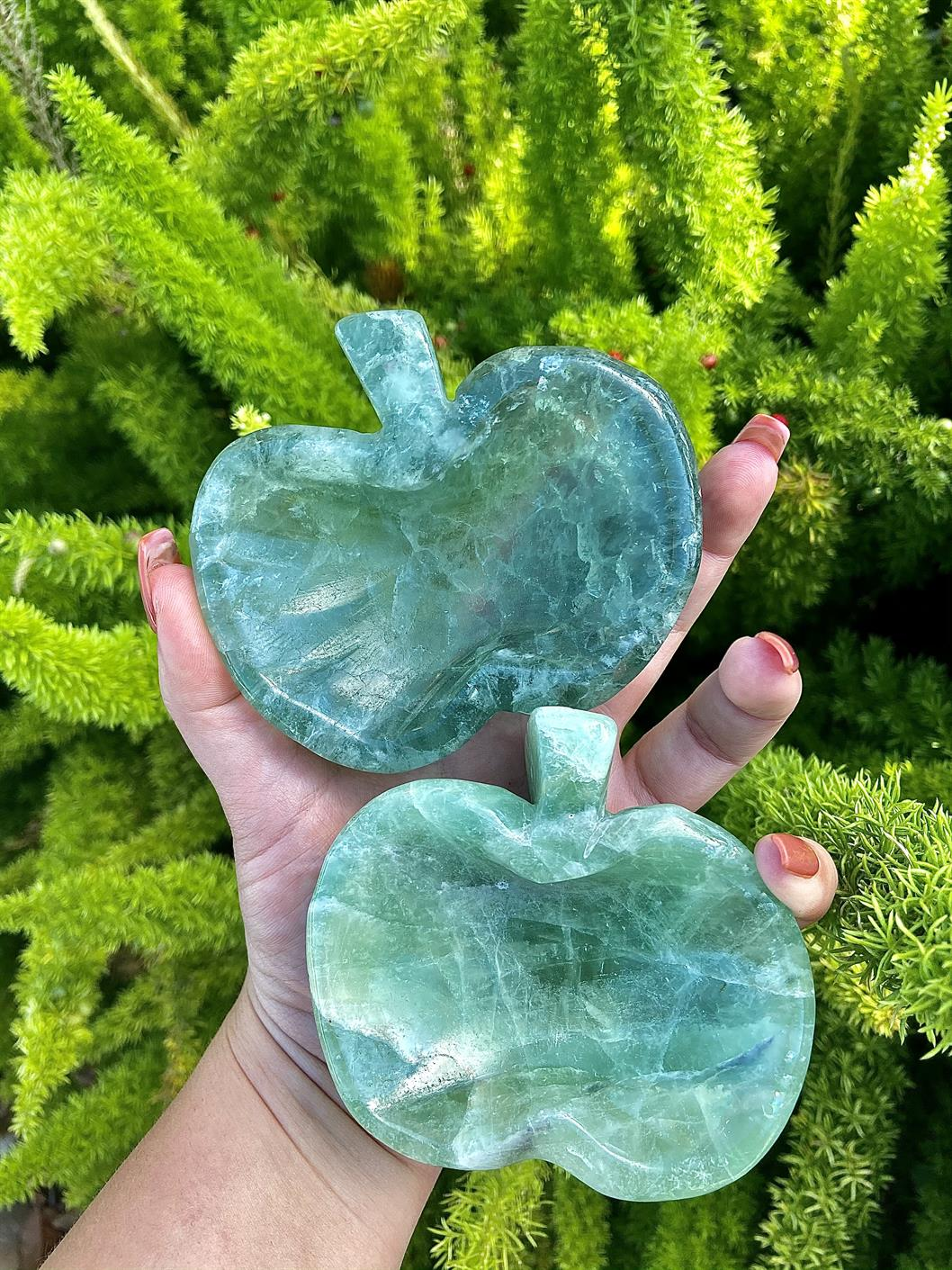 Green Fluorite Apple Shape Bowl, intuition, clarity, FB2736