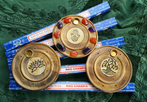 "Wooden Incense Holder / Crystal Platform 4"" / Inner Goddess - Tree of Life - Flower of Life - Hamsa - Lotus - Ohm"