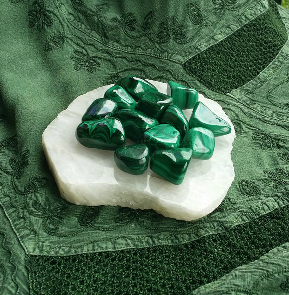 Tumbled Large Malachite - Draws out Pain, Intuition, Love & Activates all Chakras