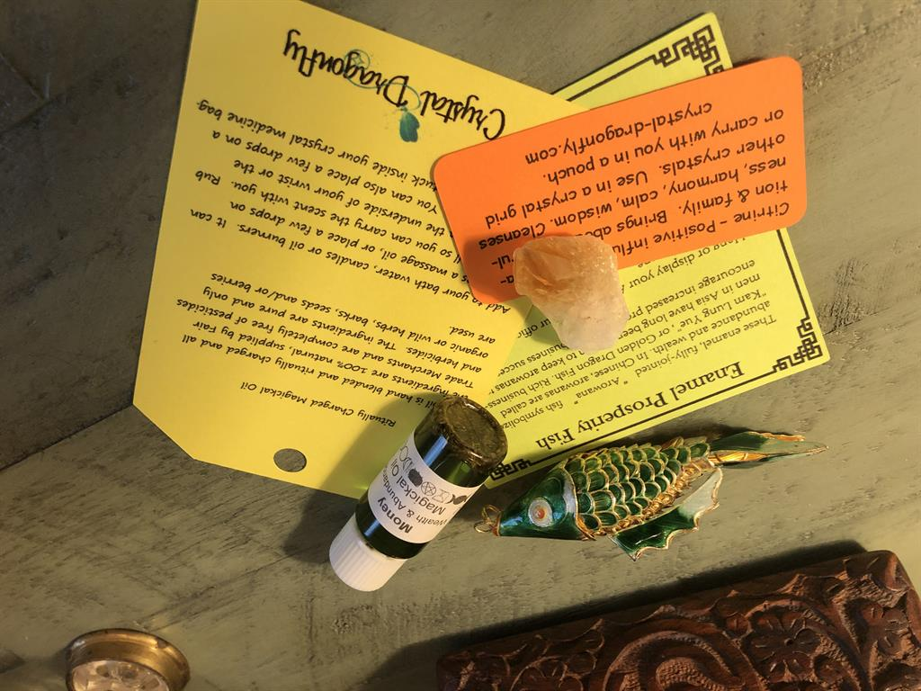 Money Magickal Oil and Prosperity Fish Collection with Citrine Point, FB2586