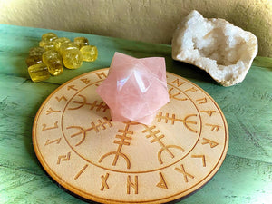 Large Rose Quartz Merkaba, Sacred Geometry Carving; FB2381