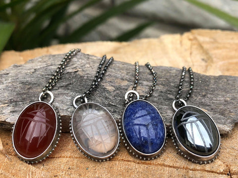 Scarab Carved in Assorted Gemstones Pendant Hand Set in Sterling Silver; FB1470