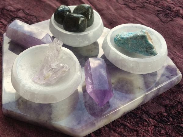 Selenite Carved Bowls & Pyramids from Morocco - strong vibration -  Angelic Realm
