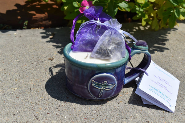 Serenity, Energize or Insight Soy Candle with Reiki Charged Pottery and Gemstone; FB1294