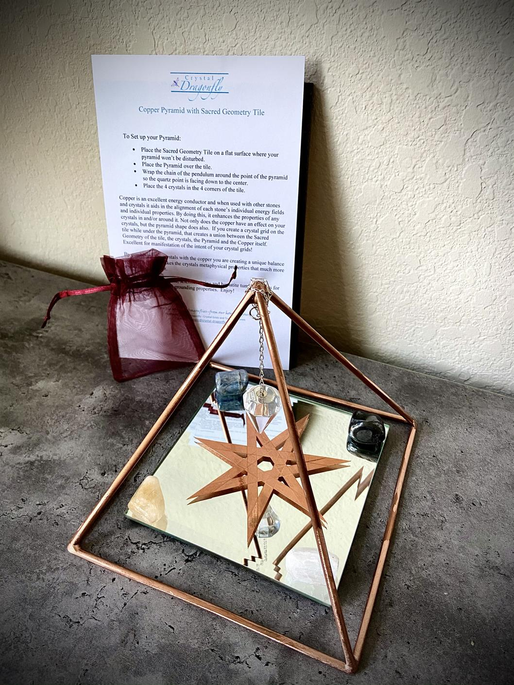 Copper Pyramid Collection, Quartz Pendulum, Sacred Geometry Tile, & Crystals; FB1640