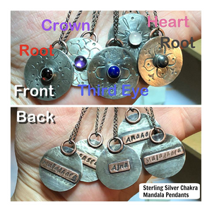 Sterling Silver Chakra Mandala Pendants Hand Set in Sterling Silver; FB1471